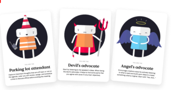 Images of Inclusion Meeting Cards: Devils Advocate, Angels Advocate, and Parking Lot Attendant